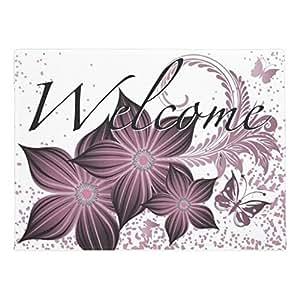 """ailovyo Welcome morado flores y mariposa de goma antideslizante entrada camino al aire libre decoración de interior alfombra Doormats (23.6x15.7"""")"""