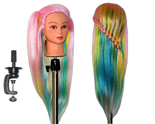 HairZtar 30 Synthetic Fiber Mannequin Head (Long and Thick) Hairdresser Training Head Manikin Cosmetology Doll Head (ELANA+C)