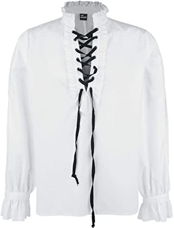 Banned Alternative Ruffled Shirt with Lacing Hombre Manga Larga Blanco, Schnürung Regular: Amazon.es: Ropa y accesorios