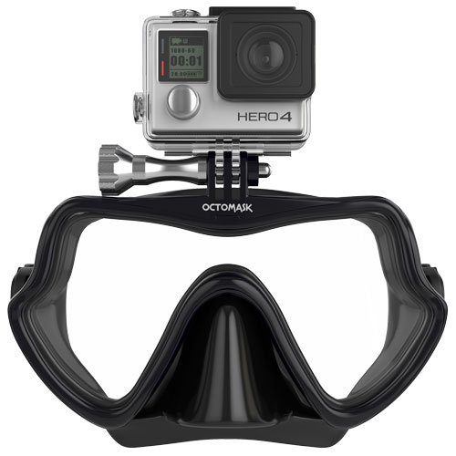 OCTOMASK - Compatible with Gopro - Frameless Dive Mask - Scuba and Snorkel - Black