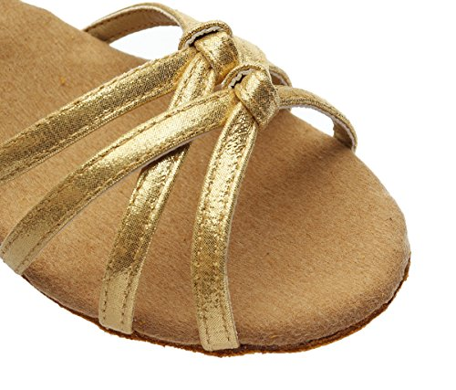 ShangYi Girls Children Latin Dance Shoes Girls Latin Shoes Dance Shoes Children's Dance Shoes Soft, with Height 3.5cm, Gold, EU36/UK3.5 Big Kids