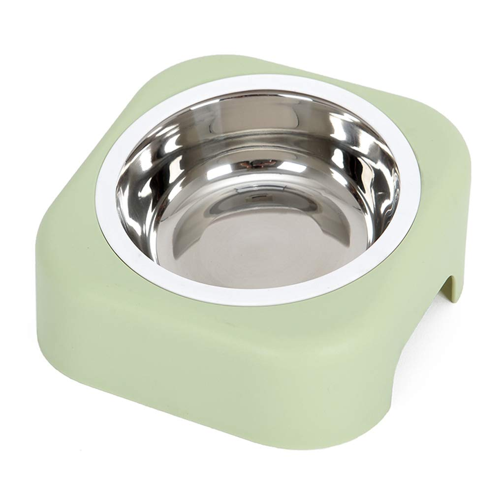C Pet Feeder Stainless Steel Slope Pet Bowl Humanized Curved Groove Tilt Water Bowl Grain Plate PP Material Green (color   C)