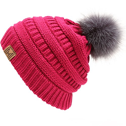 41c5a625d6a MIRMARU Women s Soft Stretch Cable Knit Warm Skully Faux Fur Pom Pom Beanie  Hats
