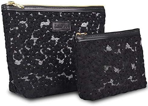 化粧品袋 女性の女の子2用化粧ポーチウォッシュバッグ化粧品パターン化されたジッパーの気質オーガナイザー収納袋 旅行化粧収納ボックス (Color : Black)