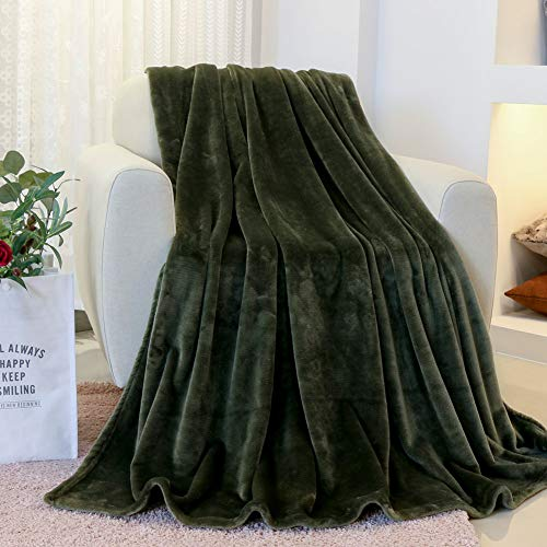 FY FIBER HOUSE Flannel Fleece Throw Microfiber Lightweight Blanket,50 by 60-Inch,Olive Green ()