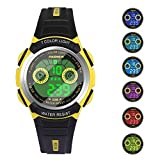 Boys Watches for Kids Sports Running Riding Swimming Climbing Durable Comfortable Multifunction 7 Colors Light LED Waterproof Digital Watch Gift for Boys Age 4-12 482ye