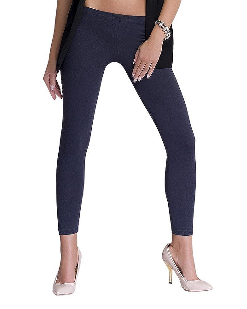 infatti Donna Pantacollant Lungo Di Cotone Hipsters Opaco Basic Leggings Molti Colori Molte Dimensioni