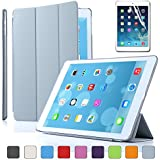 Besdata Ultra Thin Magnetic Smart Cover & Clear Back Case for Apple iPad Air(5th Gen)+Screen Protector+Stylus+Cleaning Cloth, Grey - PT4108