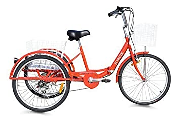 """Jorvik 24"""" Plegable Marco Adulto Triciclo - Rojo"""