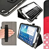 iGadgitz Premium Folio Black PU Leather Case Cover for Samsung Galaxy Tab 3 8.0'' SM-T310 with Multi-Angle Viewing Stand + Auto Sleep/Wake + Hand Strap + Screen Protector