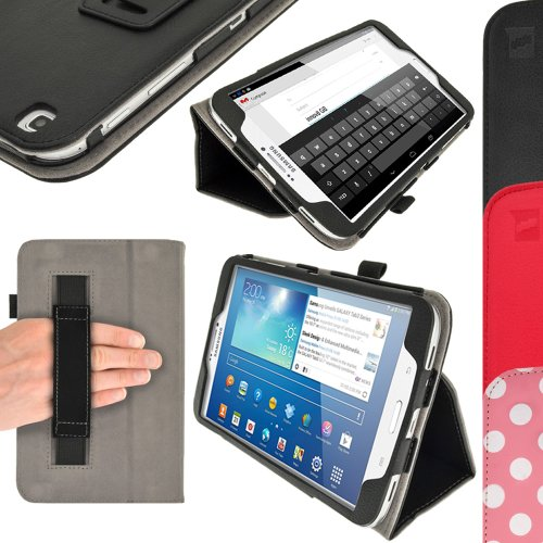 "iGadgitz Premium Folio Black PU Leather Case Cover for Samsung Galaxy Tab 3 8.0"" SM-T310 with Multi-Angle Viewing Stand + Auto Sleep/Wake + Hand Strap + Screen Protector"