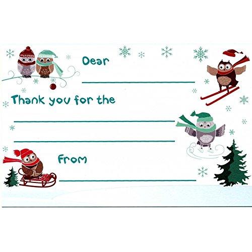 Holiday Owls - Kid's Christmas Thank You Postcards (10)