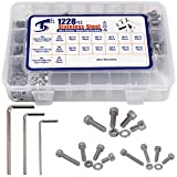 1228 Pcs Bolts And Nuts Kit, M3 M4 M5 Assortment - 3 Screwdriver Included + Case - 304 Stainless Steel Lock Washers Nut Bolt Assorted Metric Hardware, Hex Shcs Button Head Machine Screw Assortment Kit