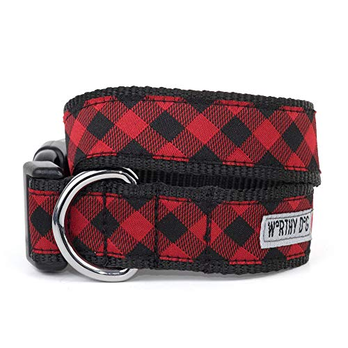 The Worthy Dog 21858-4002MD Bias Buffalo Plaid Adjustable Designer Pet Dog Collar, Red/Black, Medium