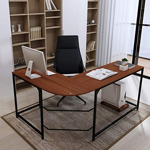 Teraves L-Shaped Reversible Gaming Computer Desk Modern Corner Desk Office Home Study Wood Table, Small, Teak