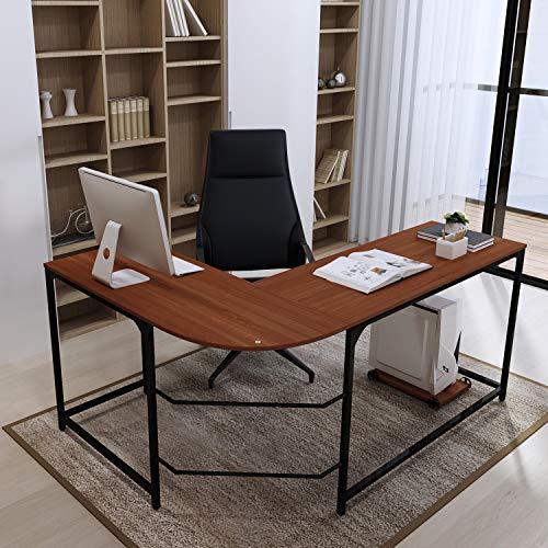 (Teraves L-Shaped Reversible Gaming Computer Desk Modern Corner Desk Office Home Study Wood Table, Large,)