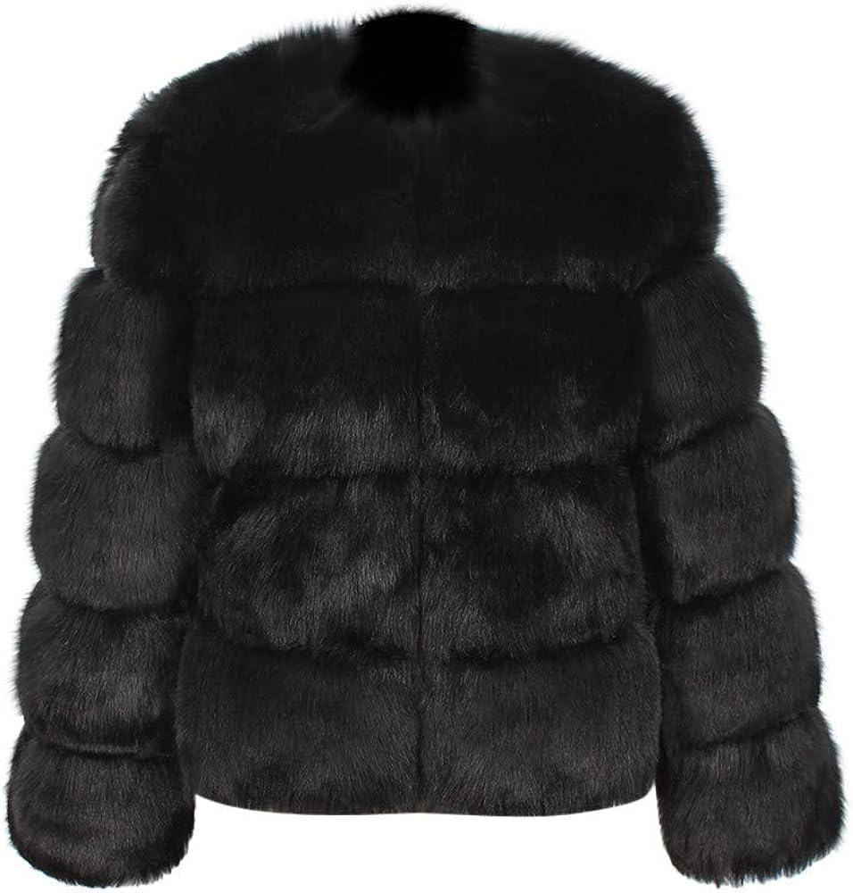 iYYVV Womens Ladies Warm Faux Fur Coat Jacket Solid Winter Gradient Parka Outerwear