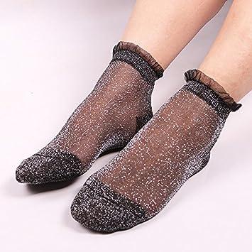 BONYTAIN - Calcetines de encaje para mujer (cristales brillantes, seda, tobillos finos, calcetines cortos, transparentes, con purpurina, elásticos), ...