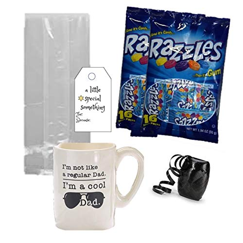 Gifts For Dad Candy Filler Coffee Mug Bundle - 1 Cool Day 13 Ounce Ceramic Mug 1 Candy Razzle Candy Gum Filled Cellophane Bag Bow Tag