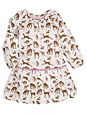 Hatley Little Girls' Pom Pom Dress Soft Deer, Cream, 4T