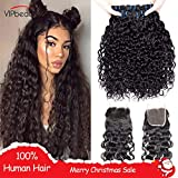 Best Hair Bundles With Free Parts - VIPbeauty Hair Bundles with Closure Water Wave Indian Review