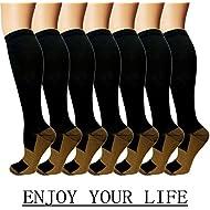 7 Pack Copper Knee High Compression Socks For Men & Women-Best For Running,Athletic,Medical,Pregnancy and Travel -15-20mmHg