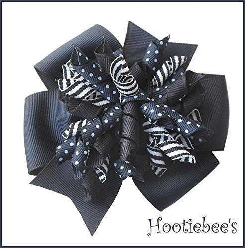 Navy Blue Dots and Stripes Suzie Q Korker Hair Bow