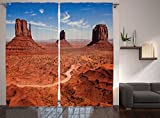 Ambesonne Western Decor Collection, American Desert Arizona Canyon Monument Valley and National Park Picture, Window Treatments, Living Room Bedroom Curtain 2 Panels Set, 108 X 84 Inches, Peru Blue