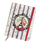Paris Eiffel Tower Purple and White Striped Notebook 7'' x 5''