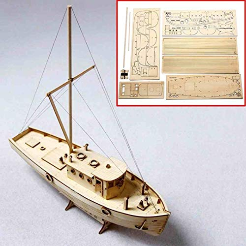 (Blood Sky New Wooden Sailing Boat Model DIY Kits 1/50 Scale Ship Assembly Building Educational)