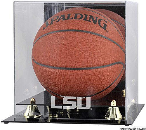 - Sports Memorabilia LSU Tigers Golden Classic Logo Basketball Display Case with Mirror Back - College Basketball Free Standing Display Cases