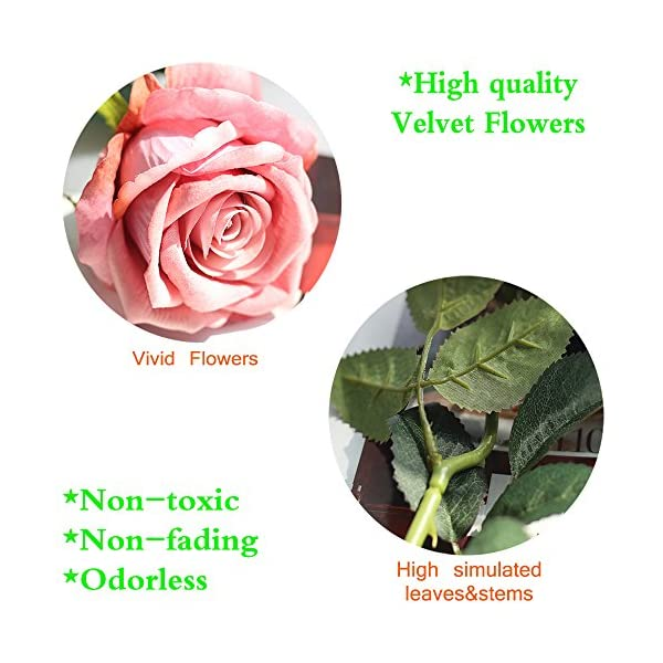 "cn-Knight Artificial Flower 12pcs 22"" Long Stem Silk Velvet Rose Real Touch Faux Flower for Wedding Bridal Bouquet Bridesmaid Home Decor Office Hotel Baby Shower Party Prom Centerpiece(Rose Smoke)"