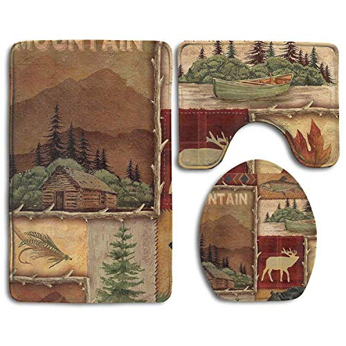 Farply Rustic Lodge Bear Moose Deer Bathroom Carpet Rug 3 Piece Soft Family Flannel Bath U Contour Mat Set Lid Toilet Cover