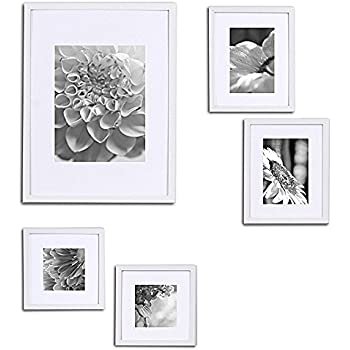 gallery perfect 5 piece white wood photo frame wall gallery kit 11fw1439 includes - White Wood Picture Frames