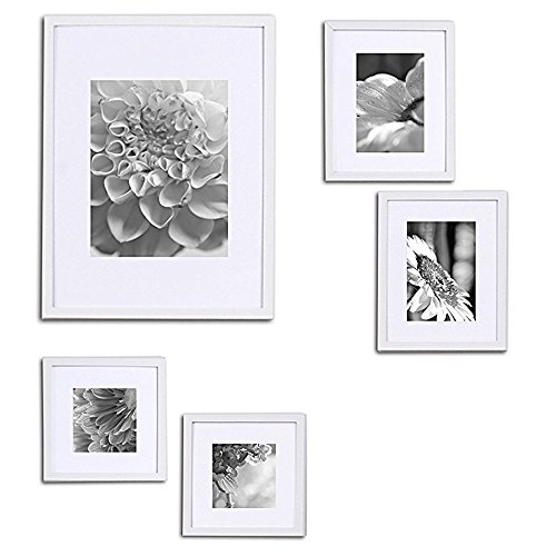 Gallery Perfect 5 Piece White Wood Photo Frame Gallery Wall Kit with Decorative Art Prints & Hanging Template