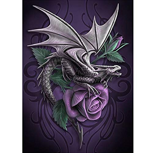 (Handmade Counted Cross Stitch Kits Dragon and Rose Embroidery Pattern DMC Cotton Thread Home Room Decor (Dragon and Rose))