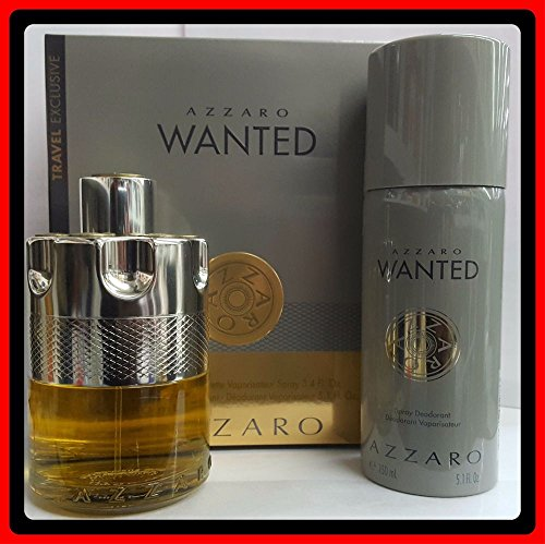 AZZARO WANTED SET 3.4OZ 100ML EDT SPRAY 5.1OZ 150ML DEODORANT (Energizing Edt Spray)