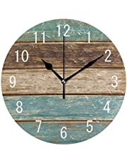 WellLee Old Color Wooden Clock Arabic Type Clock Acrylic Painted Silent Non-Ticking Round Wall Clock Home Art Bedroom Living Dorm Room Decor