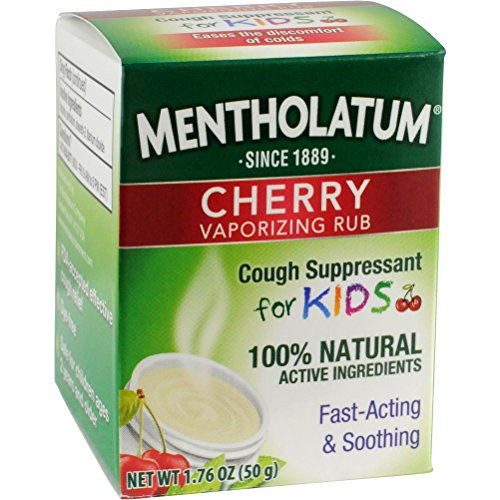 (Mentholatum Cherry Vaporizing Rub for Kids, 1.76 oz. (50g) Jar - 100% Natural Active Ingredients for Fast-Acting Cough Relief Pack of)