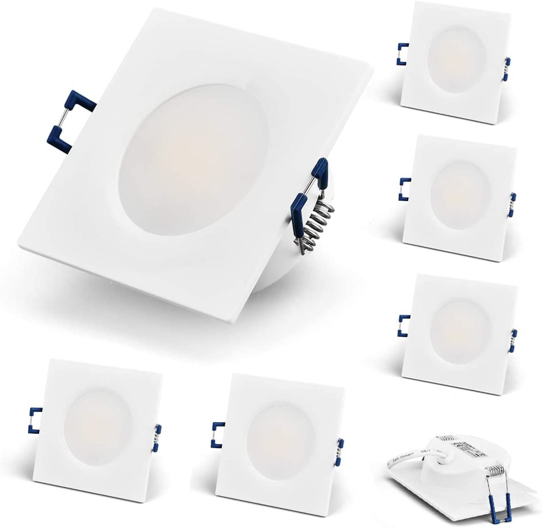 KYOTECH LED Recessed Ceiling Spotlights Ultra Flat 230V 6W Waterproof IP44 Spot Lights for Ceiling Warm White 3000K Downlights 500LM Recessed Bathroom Spotlights Pack of 6 Nickel Brushed, Round