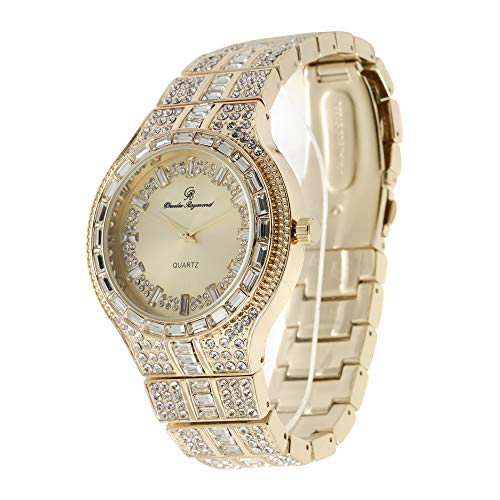 Bling-ed Out Rapper Clubbing Watch - Gold Iced Out Baguette Crystal Bezel with Classic Baguette Time Indicators on Dial - 8645PLG