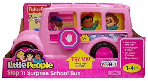 Fisher Price Little People Stop N Surprise School Bus Pink