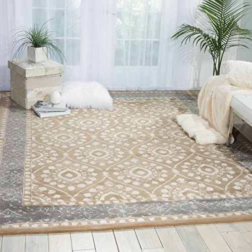 Nourison Symphony (SYM07) Taupe Rectangle Area Rug, 7-Feet 6-Inches by 9-Feet 6-Inches (7'6