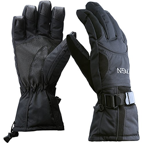 (Padida Waterproof Mens Ski Gloves, Breathable Windproof Warm Skiing Snowboard Gloves, Winter Cold Weather Thinsulate Glove (Black,Size L))