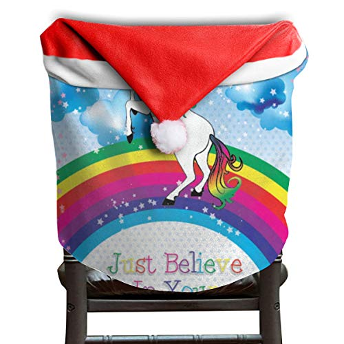 (LoveBea Santa Hat Chair Covers Unicorn Believe Your Dream Chairs Back Cover Slipcovers Kitchen Sets for Festive Decorations)