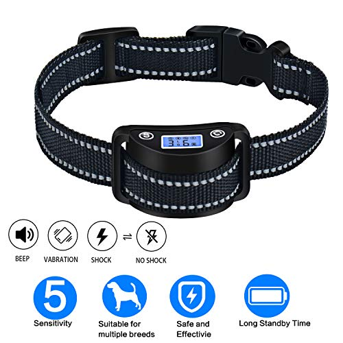 Dog Bark Collar, Best Rechargeable Anti-Barking Shock Control with 5 Levels Automatic No Bark Collar for Small Medium Large Dogs For Sale