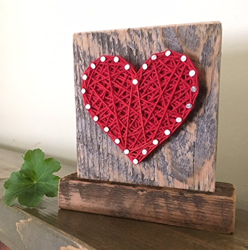 Sweet & small freestanding wooden red string art heart sign. Perfect for home accents, Wedding favors, Anniversary gifts, nursery decoration and just because gifts by Nail it Art
