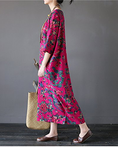 Dresses Short Red purple Casual Style3 Dress Split Printed s Aeneontrue Long Side Loose Women Vintage Floral Sleeve ESpaOqw