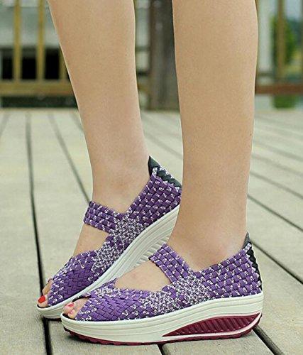 Peep Woven Sandals Mary Casual Wedge Fitness Jane GFONE Shoes Platform On Walking Slip Purple Shoes Sneaker Women's Toe 1vnBwx