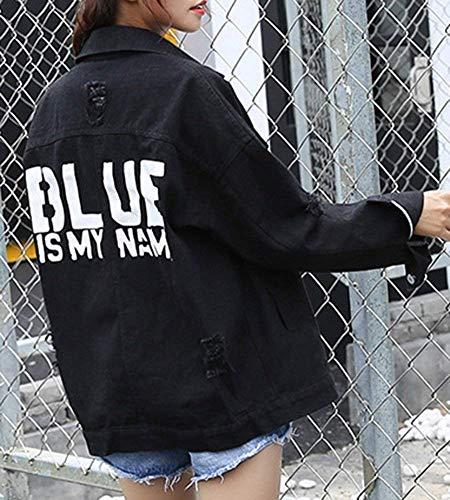 Lunga Bild Primaverile Retro Jeans Elegante Tasche Giaccone Con Moda Giacche Manica Autunno Als Festiva Jacket Style Colore Nero Donna Cappotto Ragazze Button Outerwear Strappato Puro Di Festa wFqaCI8xP